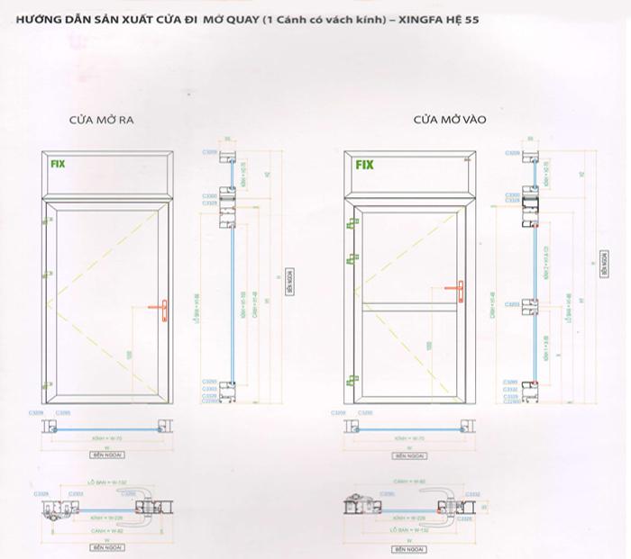 Hướng dẫn sản xuất cửa đi 1 cánh mở quay nhôm Xingfa hệ 55