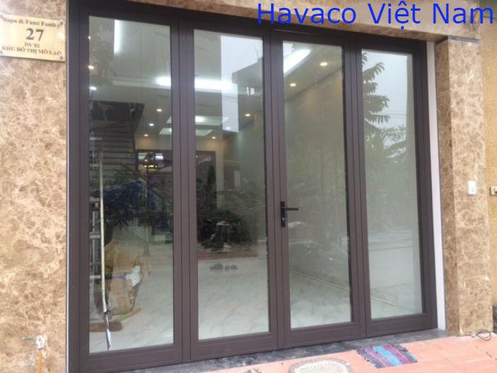 Cửa nhôm Xingfa nhập khẩu màu nâu cafe với 4 cánh