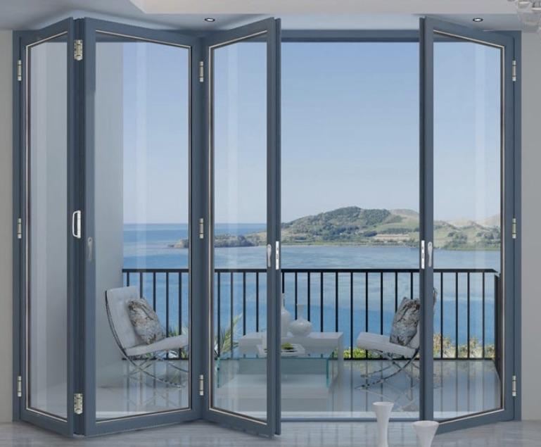 Mẫu cửa nhôm kính phòng ngủ thiết kế nhiều cánh mở ra ban công