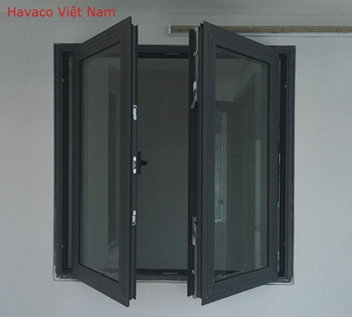 Mẫu cửa sổ nhôm đẹp màu ghi Xingfa