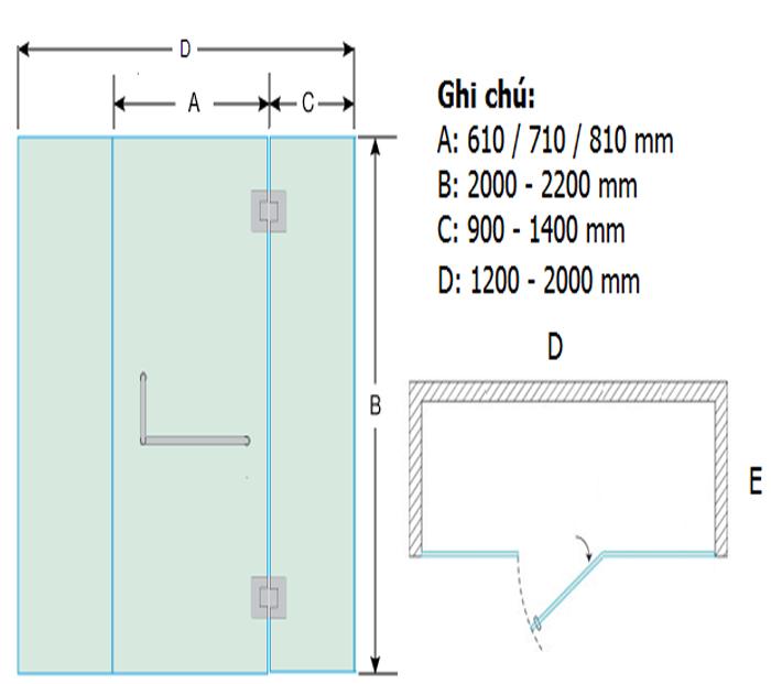 Bản vẽ cửa kính cường lực bản lề 180 độ