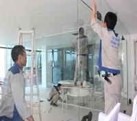 Thi công vách kính cường lực văn phòng  369 Nguyễn Xiển, Thanh Xuân, Hà Nội